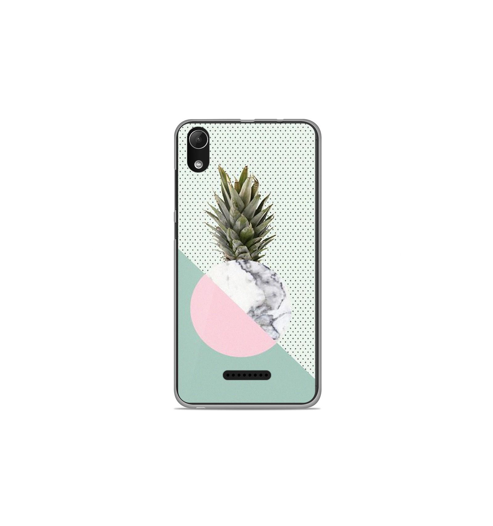 Coque en silicone Wiko Lenny 4 Plus - Ananas marbre