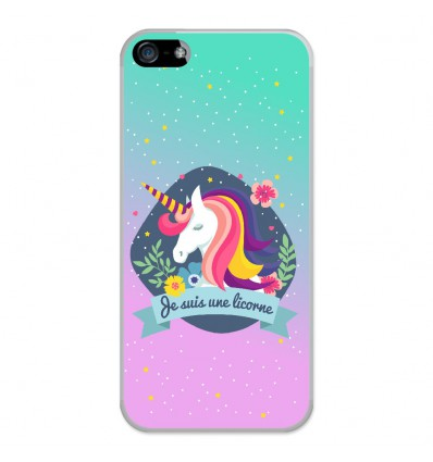 coque en silicone apple iphone 5 5s je suis une licorne. Black Bedroom Furniture Sets. Home Design Ideas