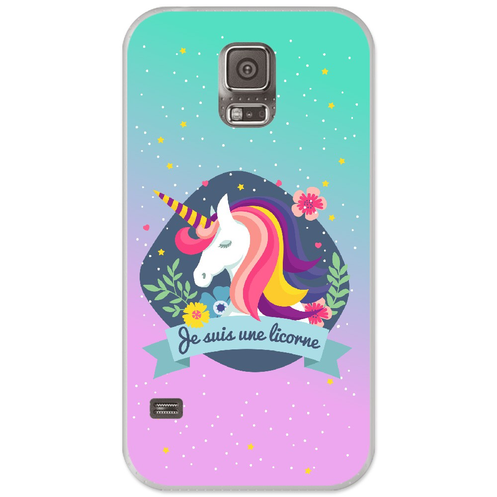 Coque en silicone Samsung Galaxy S5 - Je suis une licorne