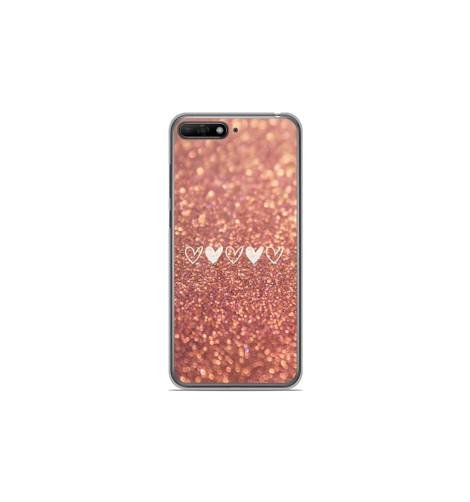 Coque en silicone Huawei Y6 2018 - Paillettes coeur