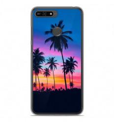 Coque en silicone Huawei Honor 7A - Palmiers colorés