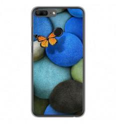 Coque en silicone Huawei Honor 9 Lite - Papillon galet bleu