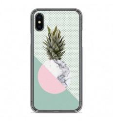 Coque en silicone Apple iPhone X / XS - Ananas marbre