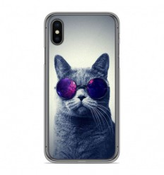 Coque en silicone Apple iPhone X / XS - Chat à lunette
