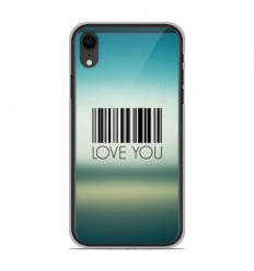 Coque en silicone Apple iPhone XR - Code barre Love you