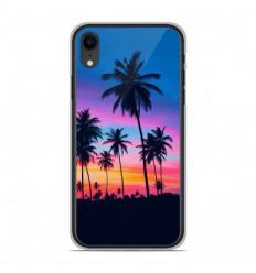 Coque en silicone Apple iPhone XR - Palmiers colorés