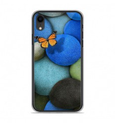 Coque en silicone Apple iPhone XR - Papillon galet bleu