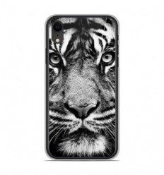 Coque en silicone Apple iPhone XR - Tigre blanc et noir
