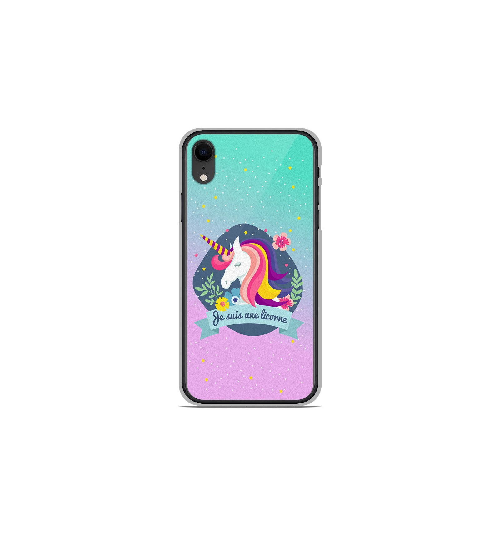 coque iphone xr silicone licorne