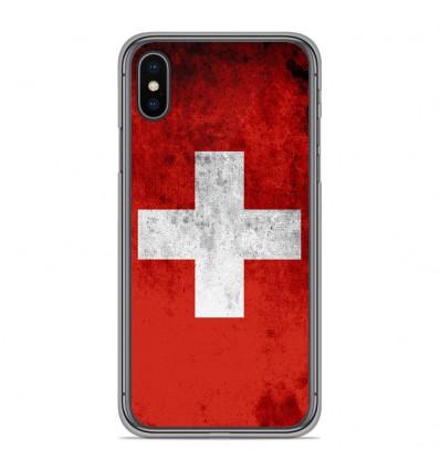 Coque en silicone Apple iPhone XS Max - Drapeau Suisse
