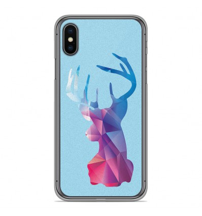 Coque en silicone Apple iPhone XS Max - Cerf Hipster Bleu