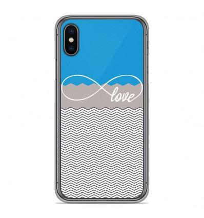 Coque en silicone pour Apple iPhone XS Max - Love Bleu