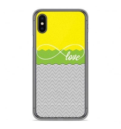 Coque en silicone Apple iPhone XS Max - Love Jaune