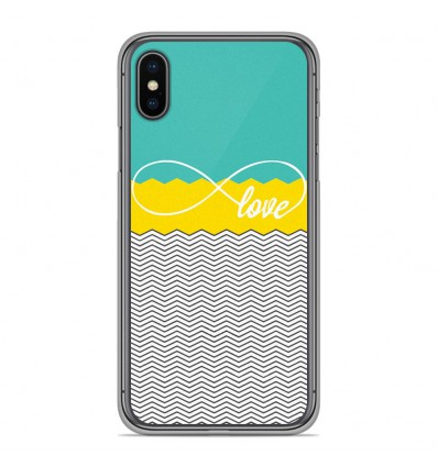 Coque en silicone pour Apple iPhone XS Max - Love Turquoise