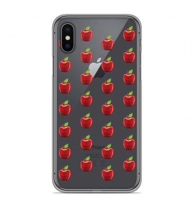 Coque en silicone pour Apple iPhone XS Max - Pommes Gris