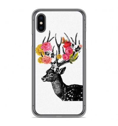 Coque en silicone pour Apple iPhone XS Max - Cerf fleurs