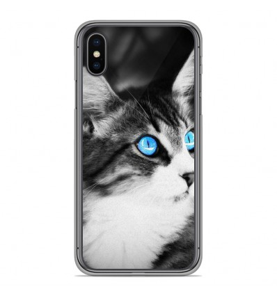 Coque en silicone Apple iPhone XS Max - Chat yeux bleu