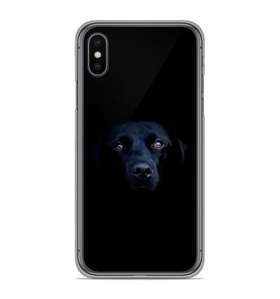 Coque en silicone Apple iPhone XS Max - Chien noir