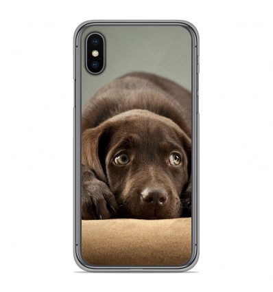 Coque en silicone Apple iPhone XS Max - Chiot marron