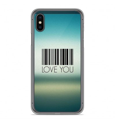Coque en silicone Apple iPhone XS Max - Code barre Love you