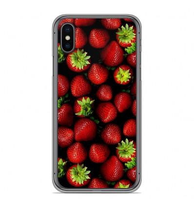 Coque en silicone pour Apple iPhone XS Max - Fraises