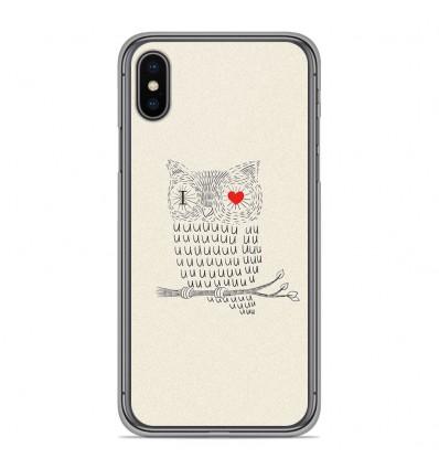 Coque en silicone Apple iPhone XS Max - I Love Hiboux