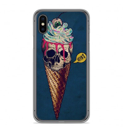 Coque en silicone Apple iPhone XS Max - Ice cream skull blue
