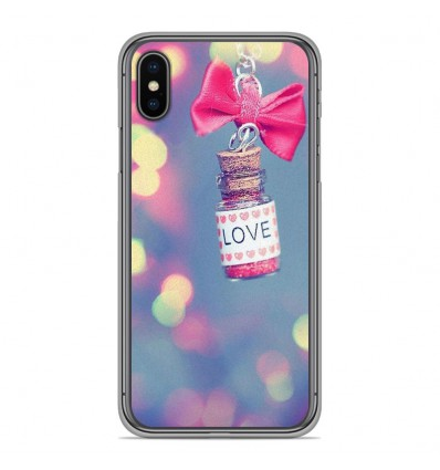 Coque en silicone Apple iPhone XS Max - Love noeud rose
