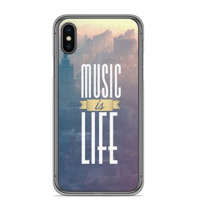 Coque en silicone pour Apple iPhone XS Max - Music is life