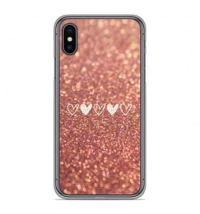 Coque en silicone pour Apple iPhone XS Max - Paillettes coeur