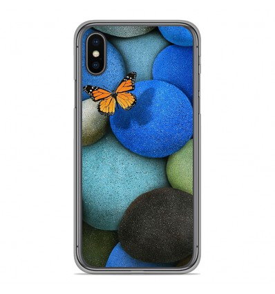 Coque en silicone Apple iPhone XS Max - Papillon galet bleu