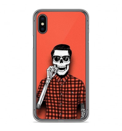 Coque en silicone Apple iPhone XS Max - Skull Hipster red shirt