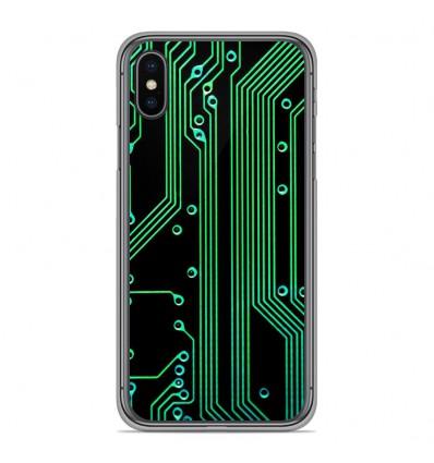 Coque en silicone pour Apple iPhone XS Max - Texture circuit geek