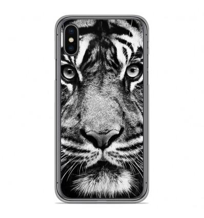 Coque en silicone Apple iPhone XS Max - Tigre blanc et noir