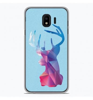 Coque en silicone pour Samsung Galaxy J4 2018 - Cerf Hipster Bleu