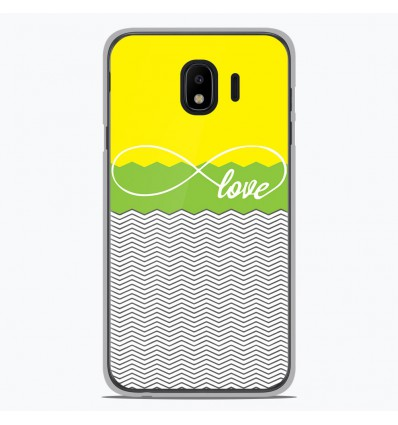 Coque en silicone pour Samsung Galaxy J4 2018 - Love Jaune