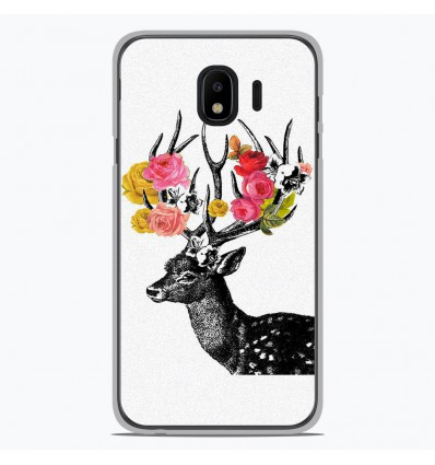 Coque en silicone pour Samsung Galaxy J4 2018 - Cerf fleurs