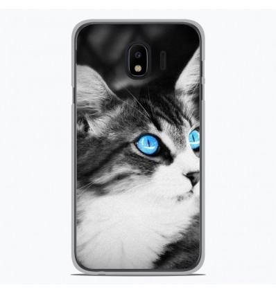 Coque en silicone Samsung Galaxy J4 2018 - Chat yeux bleu