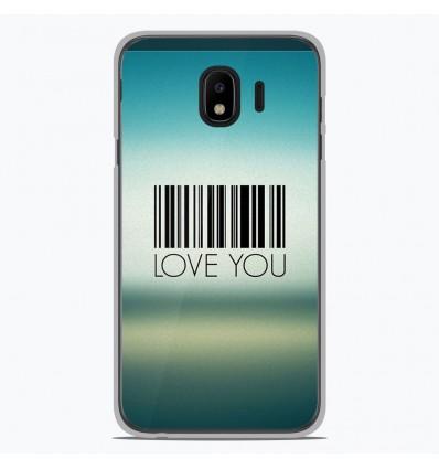 Coque en silicone pour Samsung Galaxy J4 2018 - Code barre Love you