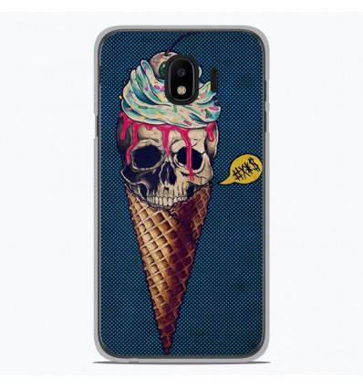 Coque en silicone Samsung Galaxy J4 2018 - Ice cream skull blue