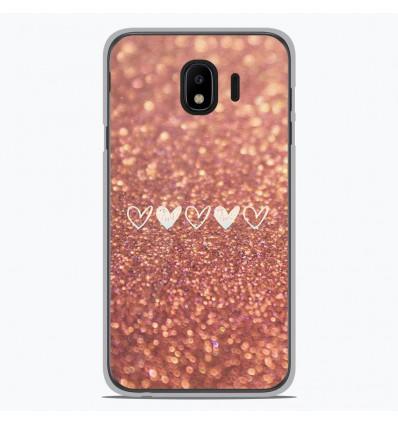 Coque en silicone Samsung Galaxy J4 2018 - Paillettes coeur