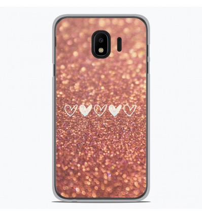 Coque en silicone pour Samsung Galaxy J4 2018 - Paillettes coeur