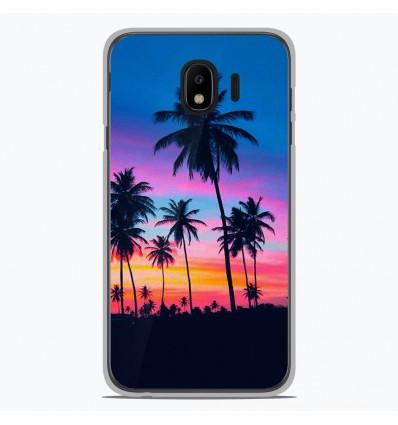Coque en silicone Samsung Galaxy J4 2018 - Palmiers colorés