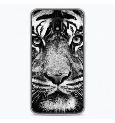 Coque en silicone Samsung Galaxy J4 2018 - Tigre blanc et noir