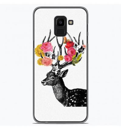 Coque en silicone Samsung Galaxy J6 2018 - Cerf fleurs