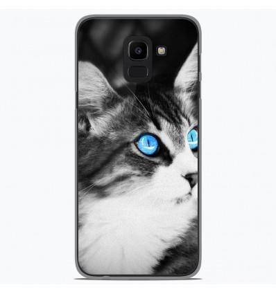 Coque en silicone Samsung Galaxy J6 2018 - Chat yeux bleu
