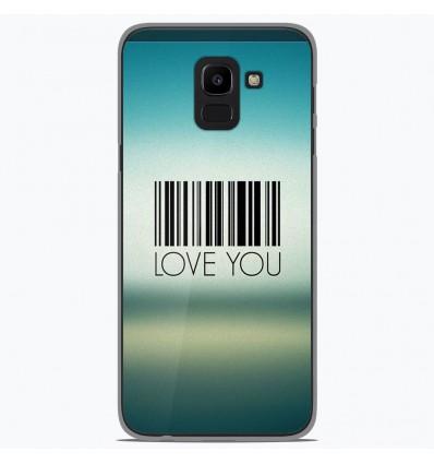 Coque en silicone Samsung Galaxy J6 2018 - Code barre Love you