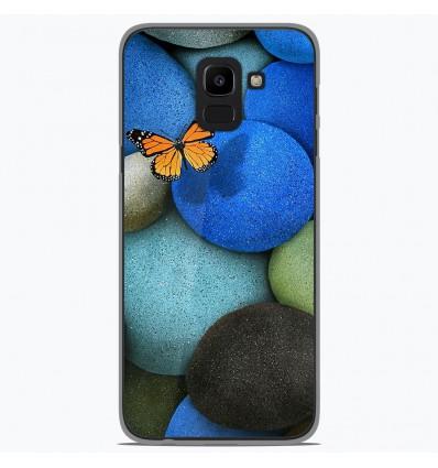 Coque en silicone Samsung Galaxy J6 2018 - Papillon galet bleu