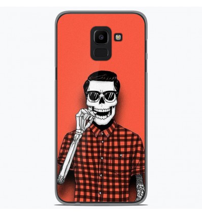 Coque en silicone Samsung Galaxy J6 2018 - Skull Hipster red shirt