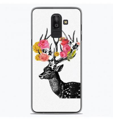 Coque en silicone Samsung Galaxy J8 2018 - Cerf fleurs